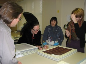 From left to right; Dr. Clark Erickson, Dr. Ann Peters, Marianne Weldon, and Dr. Anne Tiballi looking at a Peruvian textile in the BMC Collection.